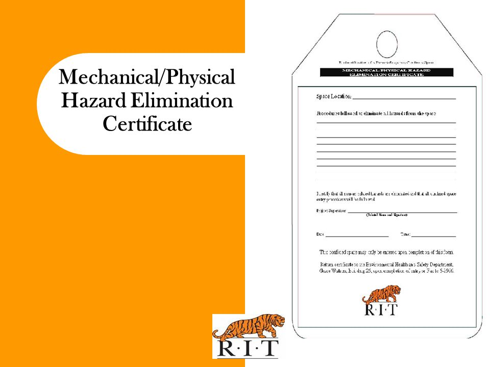 Mechanical/Physical Hazard Elimination Certificate