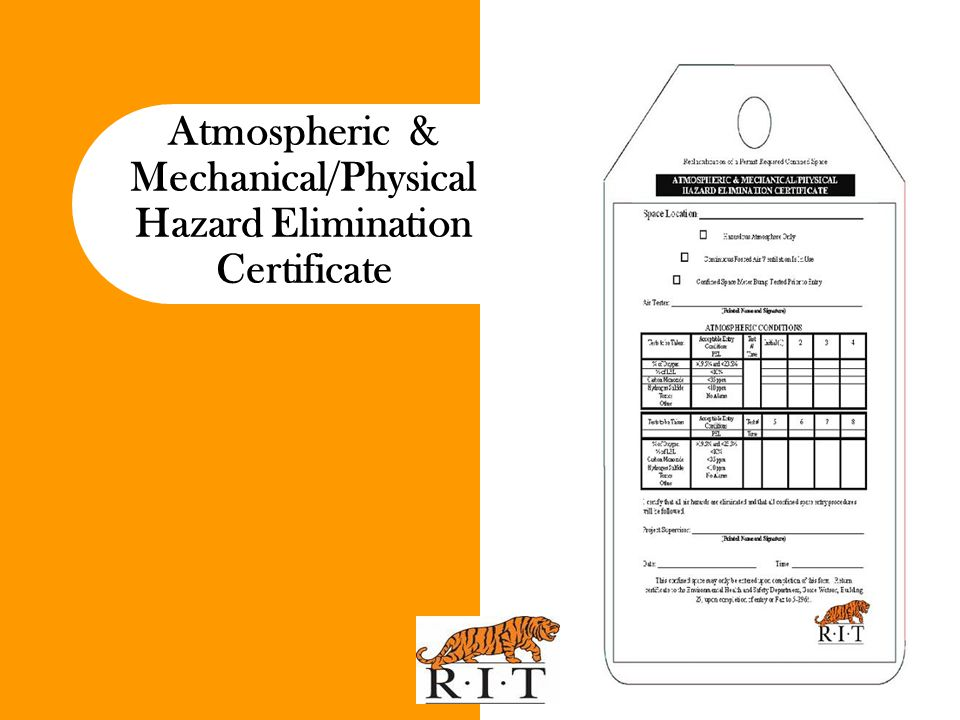 Atmospheric & Mechanical/Physical Hazard Elimination Certificate