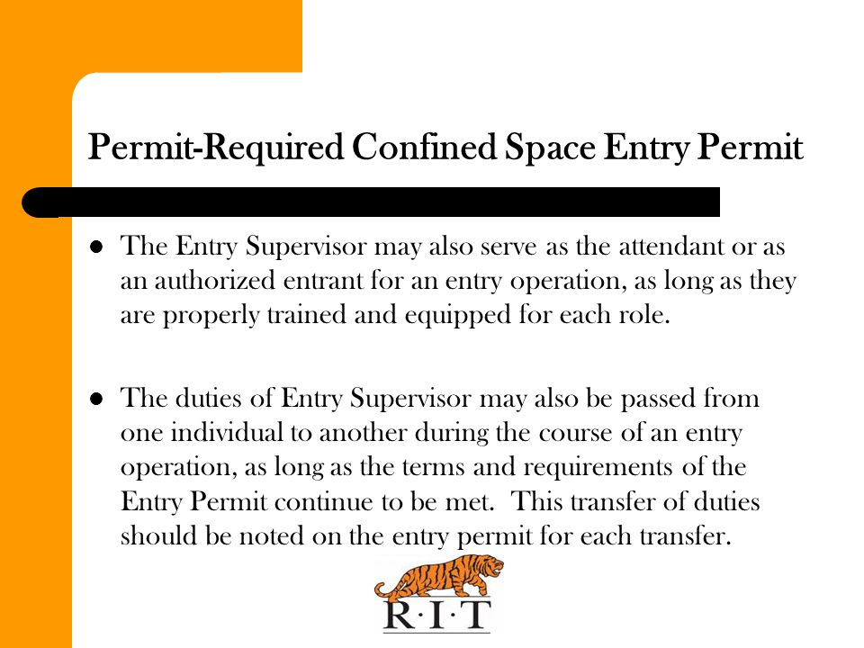 Permit-Required Confined Space Entry Permit