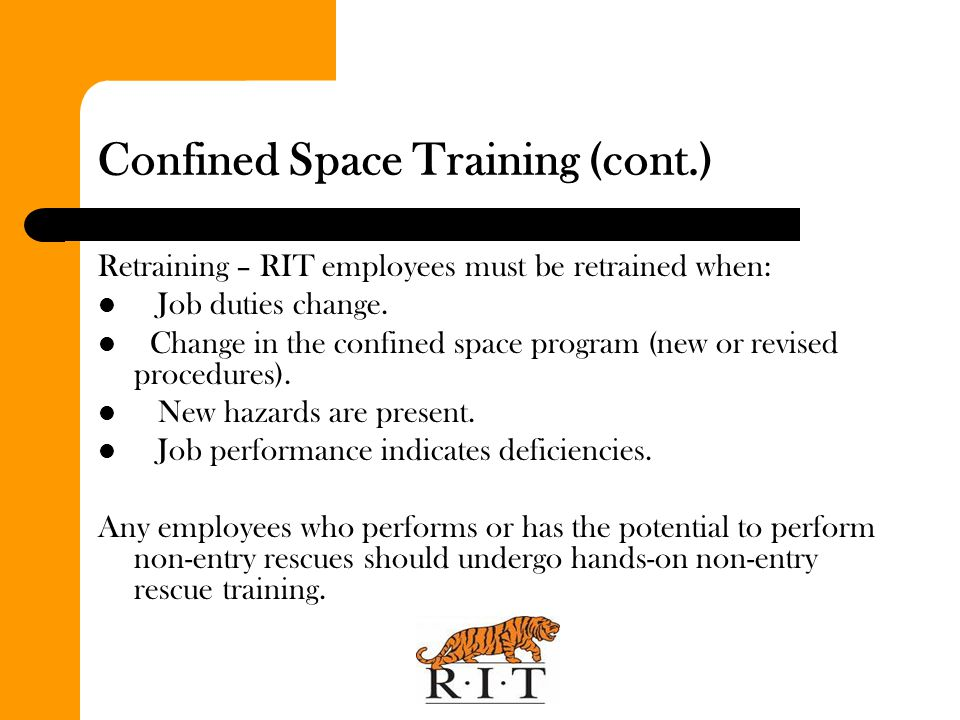 Confined Space Training (cont.)