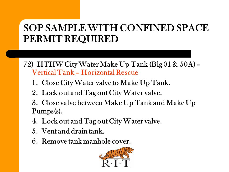 SOP SAMPLE WITH CONFINED SPACE PERMIT REQUIRED