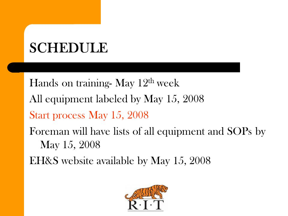 SCHEDULE Hands on training- May 12th week