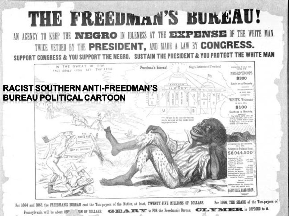 Racist Southern Anti-Freedman's Bureau Political Cartoon