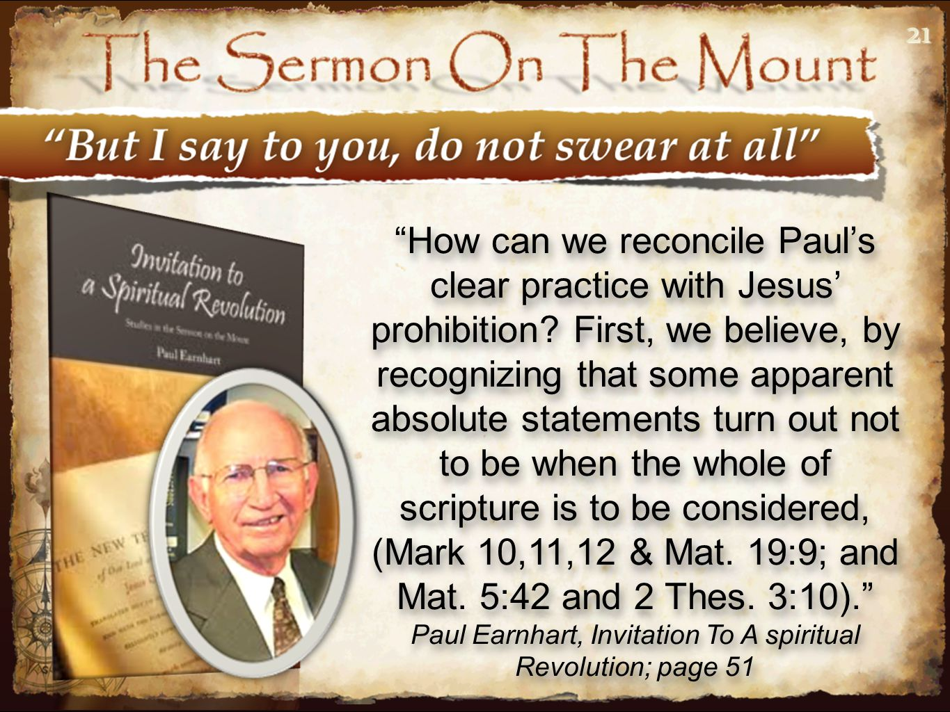 Paul Earnhart, Invitation To A spiritual Revolution; page 51