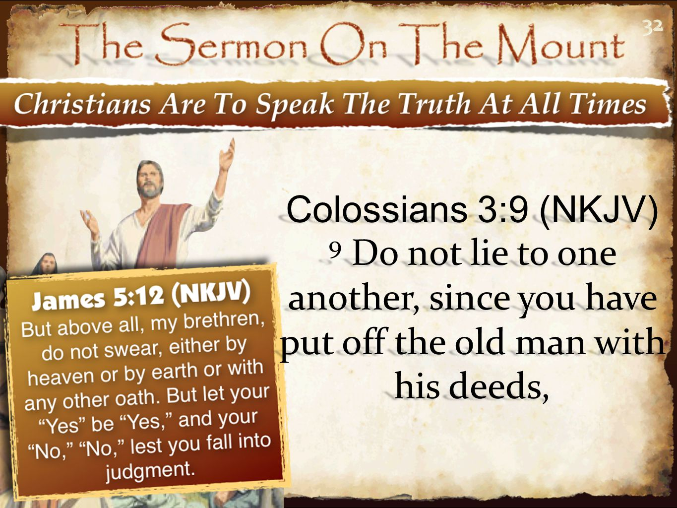 32 Colossians 3:9 (NKJV) 9 Do not lie to one another, since you have put off the old man with his deeds,