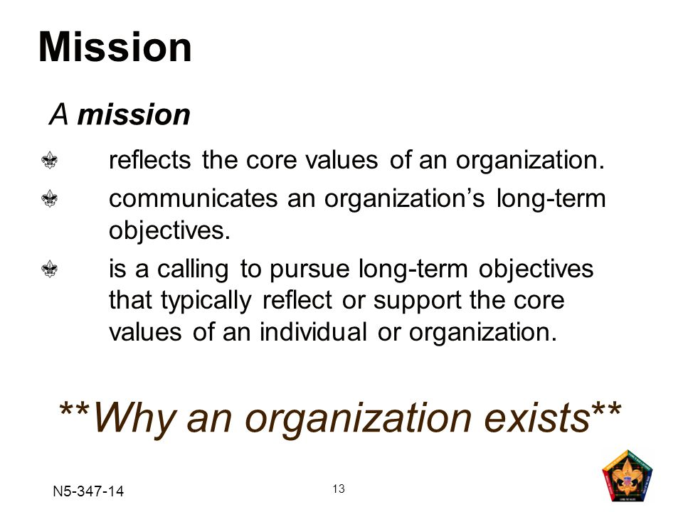 **Why an organization exists**