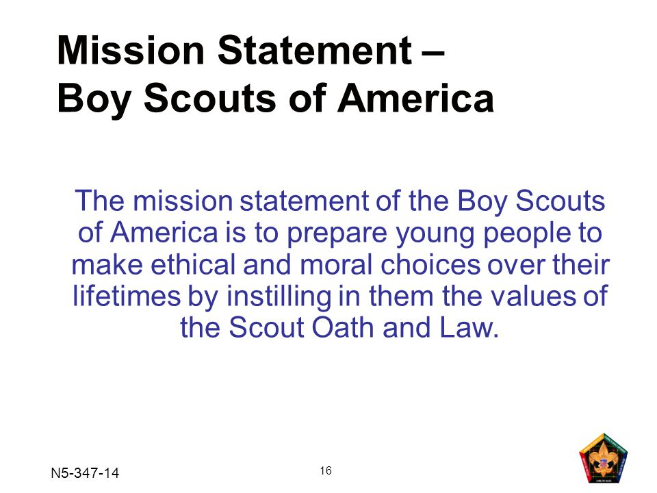Mission Statement – Boy Scouts of America