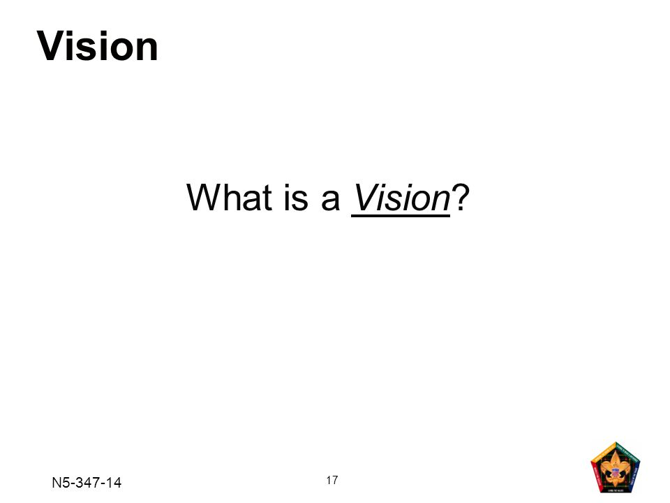 Vision What is a Vision N5-347-14