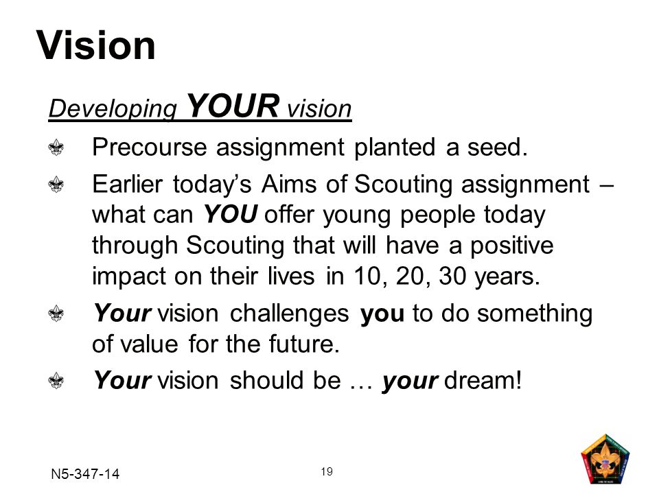 Vision Developing YOUR vision Precourse assignment planted a seed.