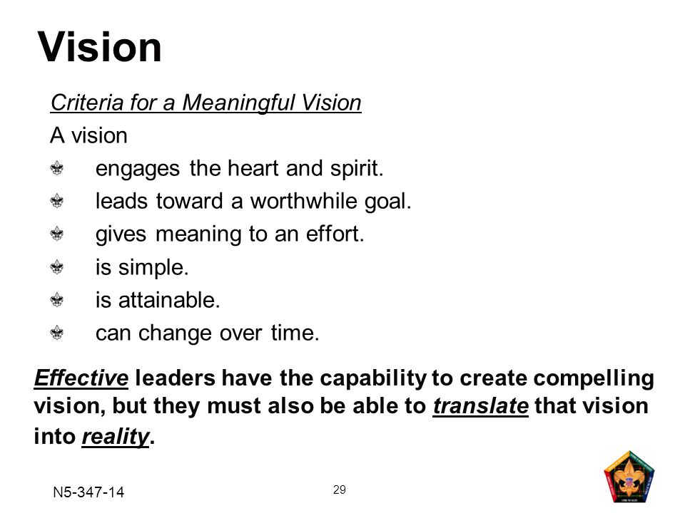 Vision Criteria for a Meaningful Vision A vision