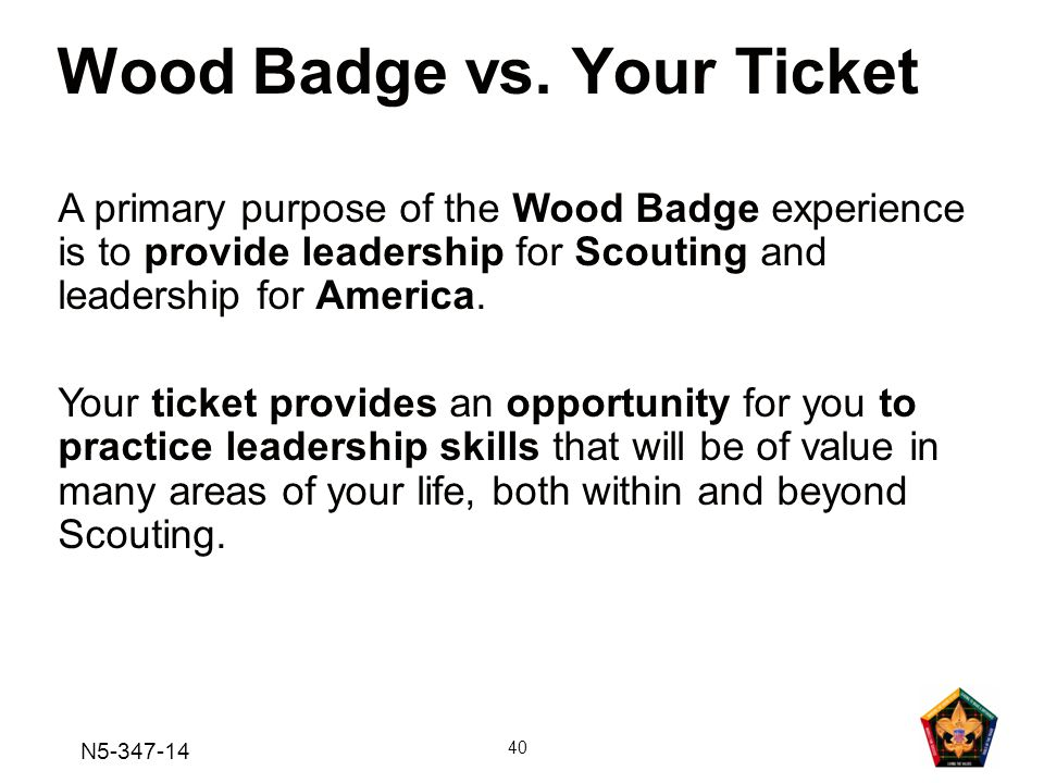 Wood Badge vs. Your Ticket
