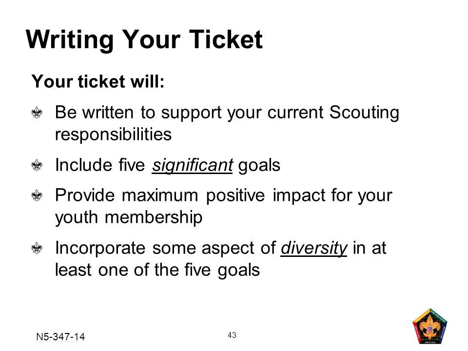 Writing Your Ticket Your ticket will: