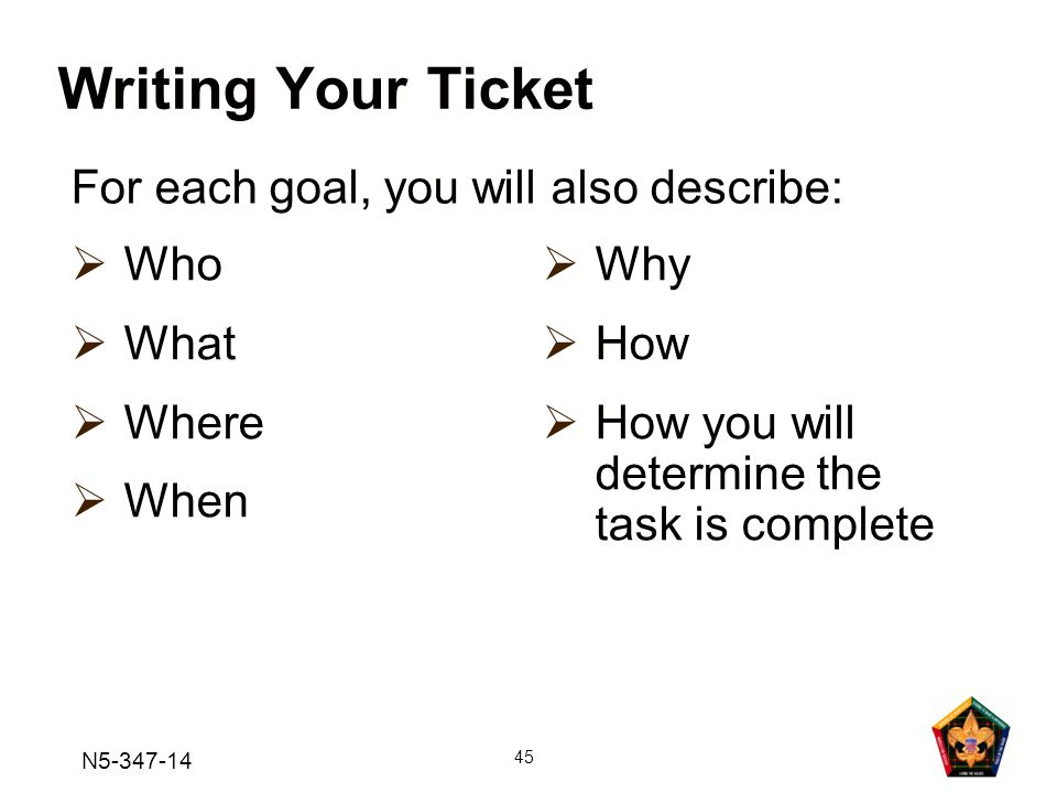 Writing Your Ticket For each goal, you will also describe: Who What