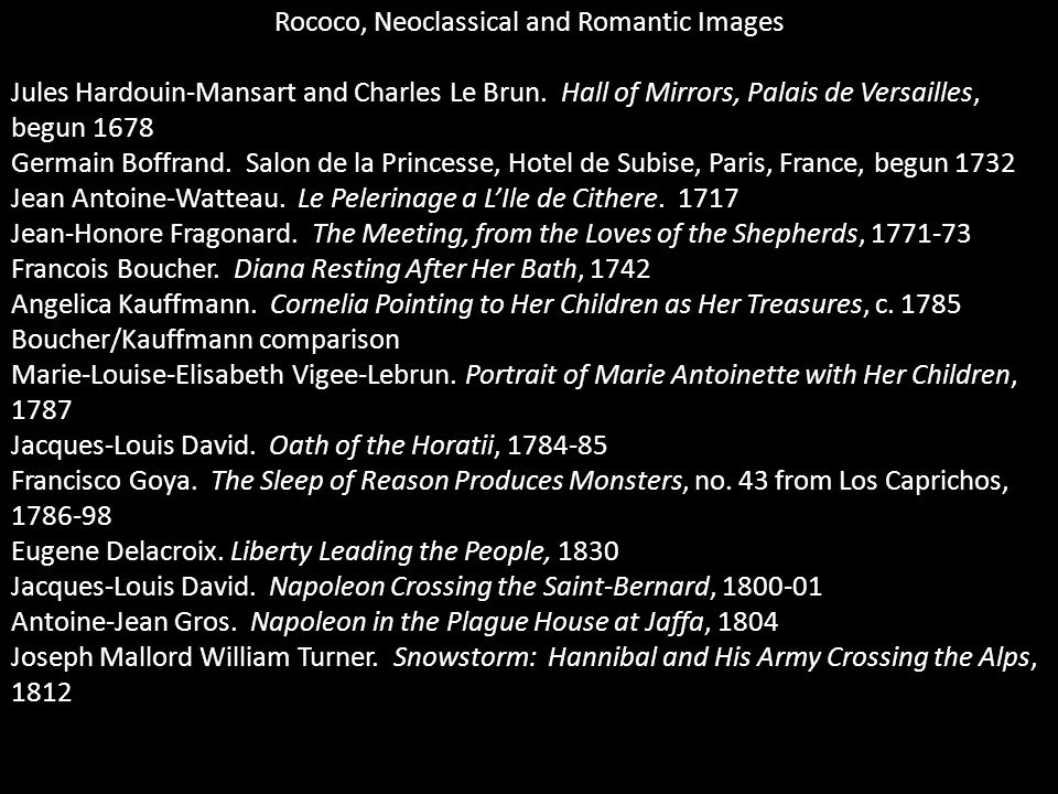 Rococo, Neoclassical and Romantic Images