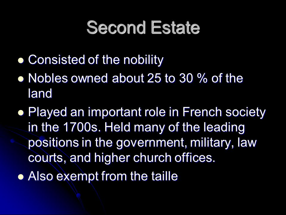 Second Estate Consisted of the nobility