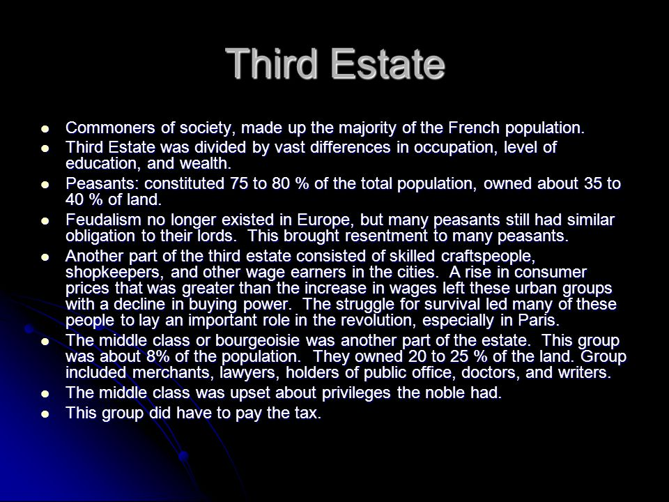 Third Estate Commoners of society, made up the majority of the French population.