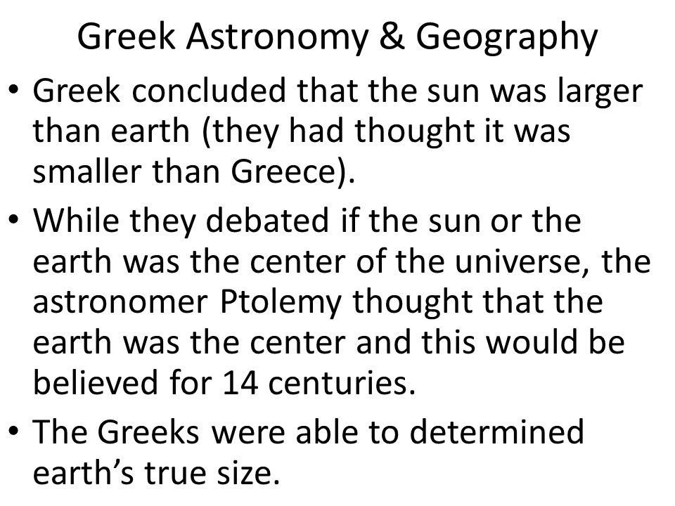 Greek Astronomy & Geography