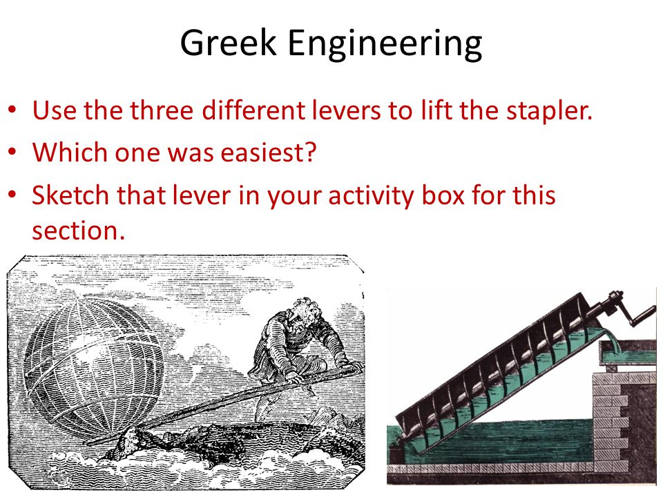 Greek Engineering Use the three different levers to lift the stapler.