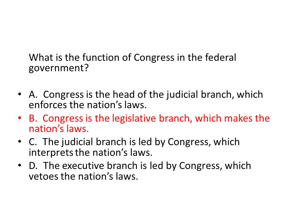 What is the function of Congress in the federal government