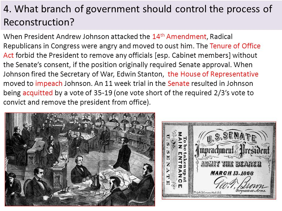 4. What branch of government should control the process of Reconstruction