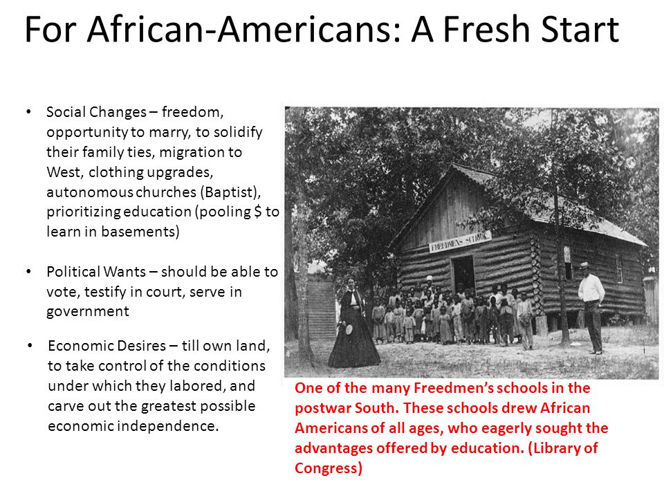 For African-Americans: A Fresh Start