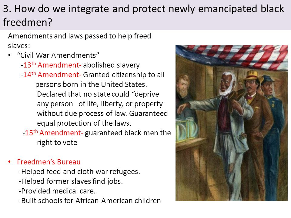 3. How do we integrate and protect newly emancipated black freedmen