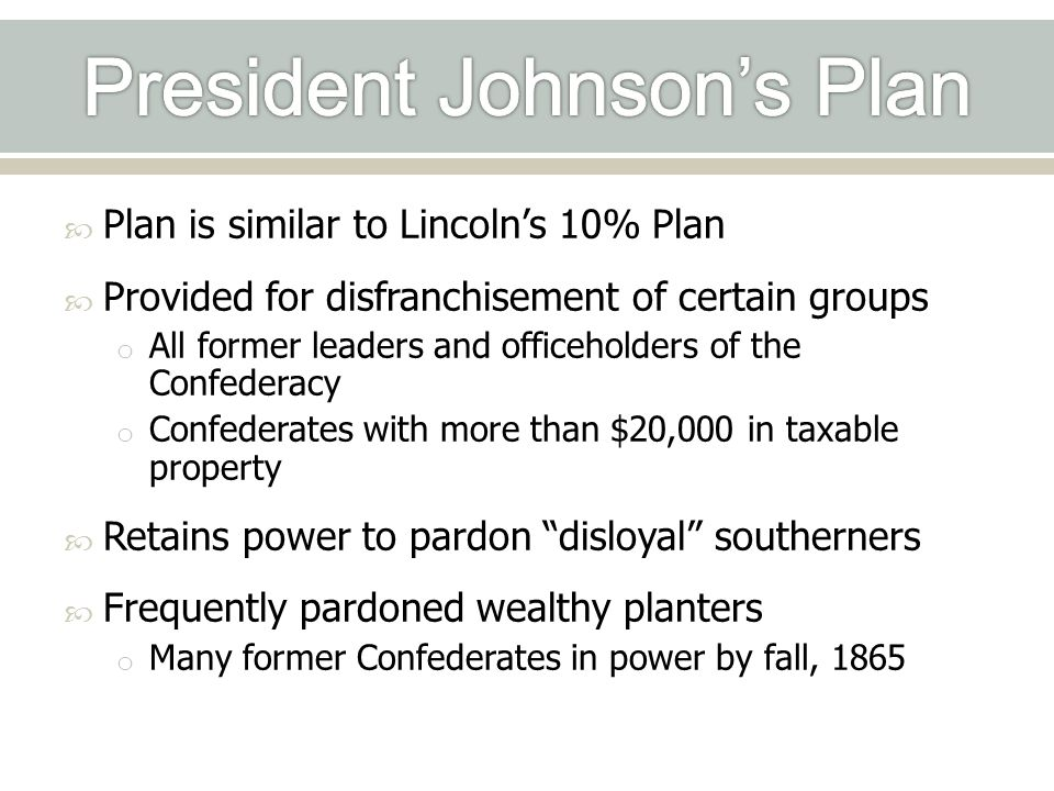 President Johnson's Plan