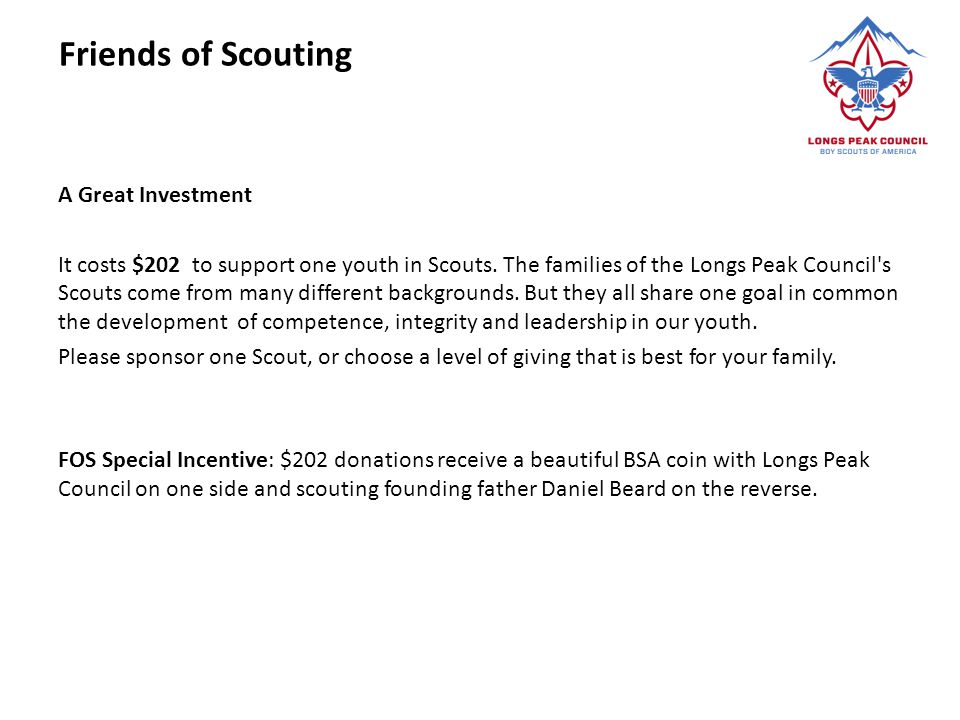 Friends of Scouting A Great Investment