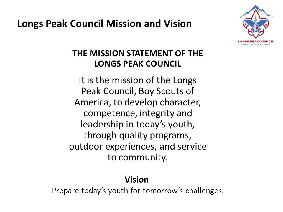 Longs Peak Council Mission and Vision