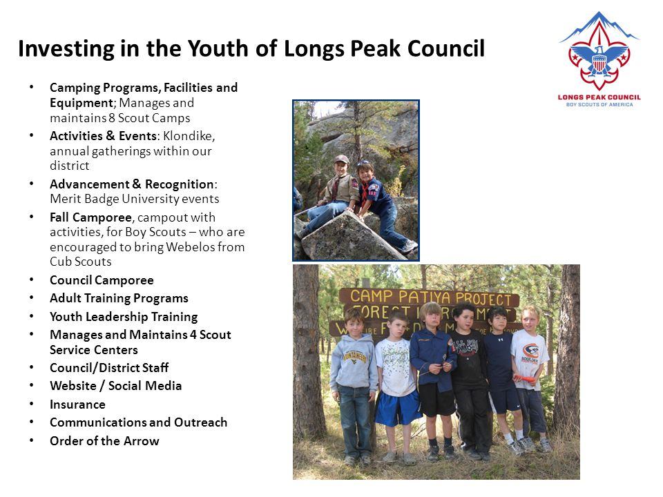 Investing in the Youth of Longs Peak Council