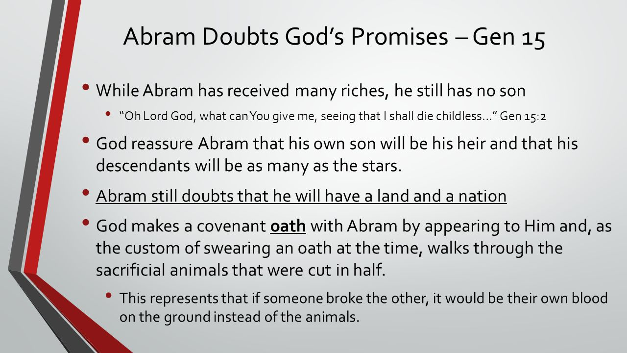 Abram Doubts God's Promises – Gen 15
