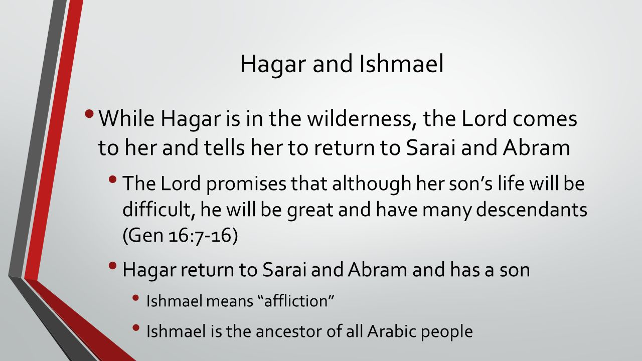 Hagar and Ishmael While Hagar is in the wilderness, the Lord comes to her and tells her to return to Sarai and Abram.