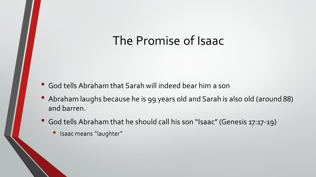 The Promise of Isaac God tells Abraham that Sarah will indeed bear him a son.