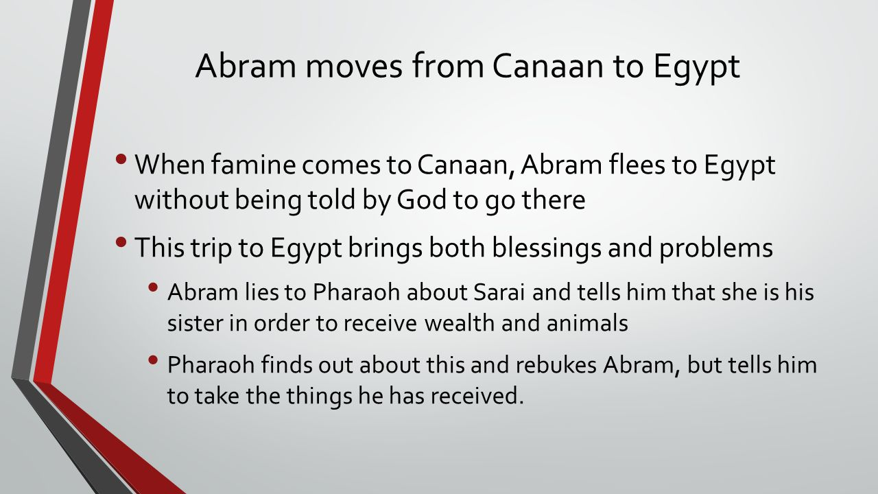 Abram moves from Canaan to Egypt