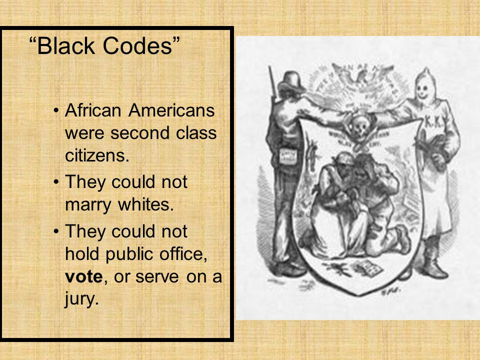 Black Codes African Americans were second class citizens.