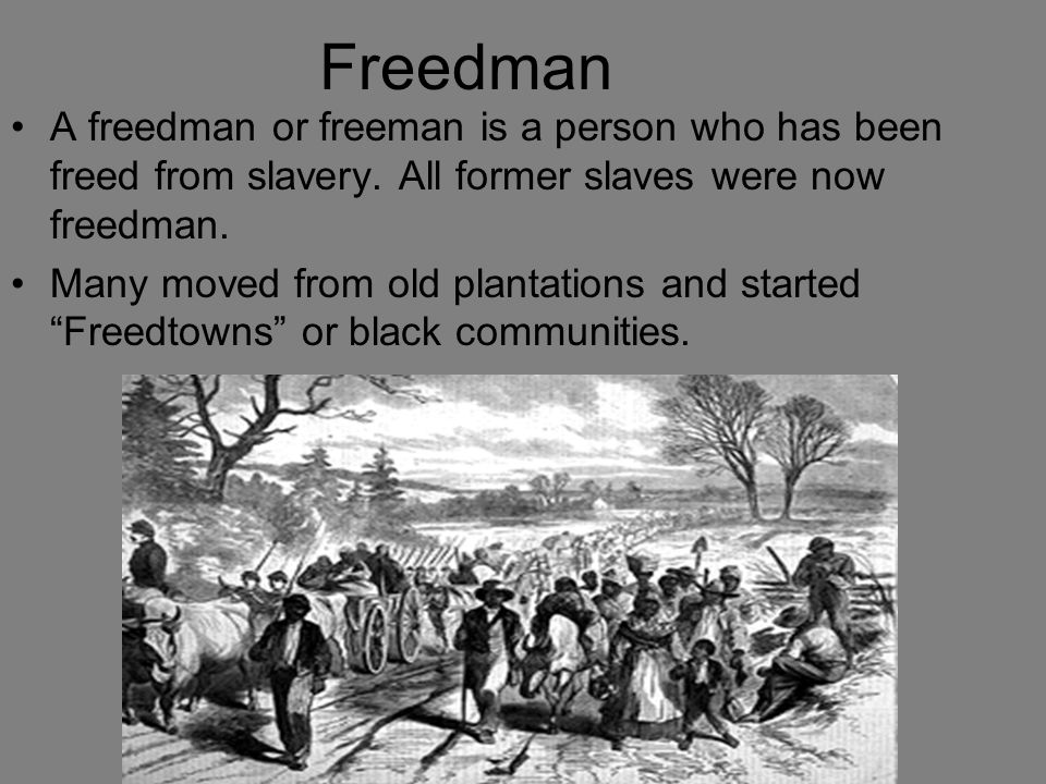 Freedman A freedman or freeman is a person who has been freed from slavery. All former slaves were now freedman.