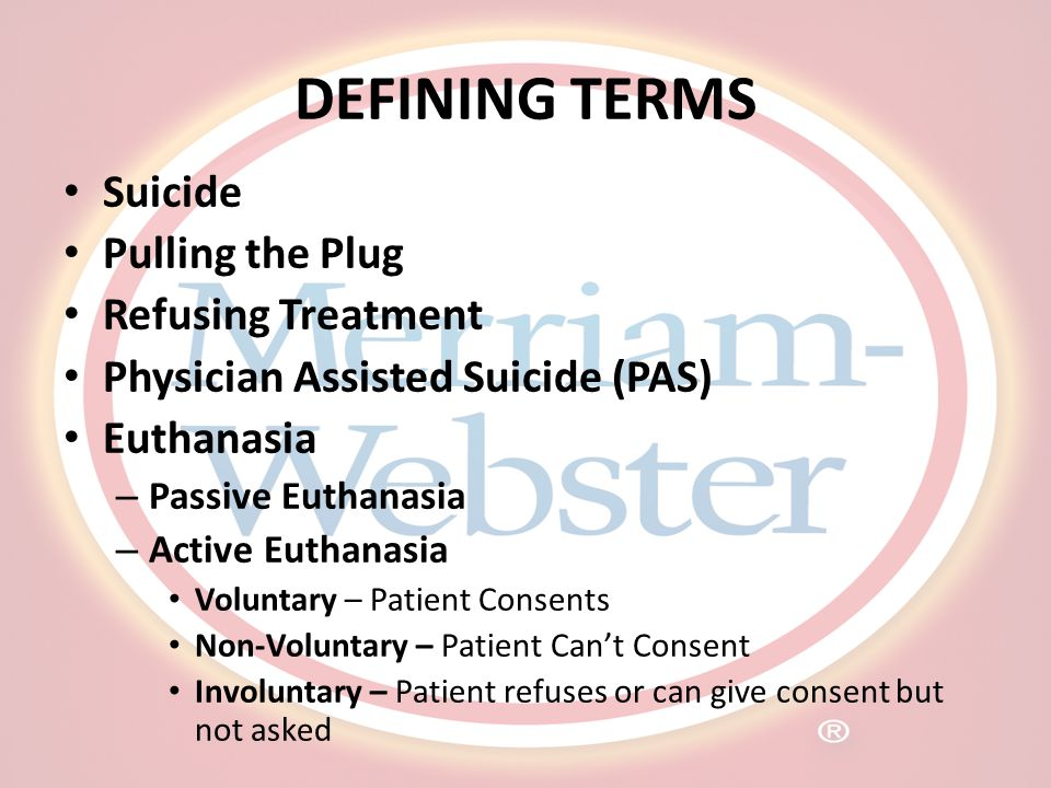 DEFINING TERMS Suicide Pulling the Plug Refusing Treatment