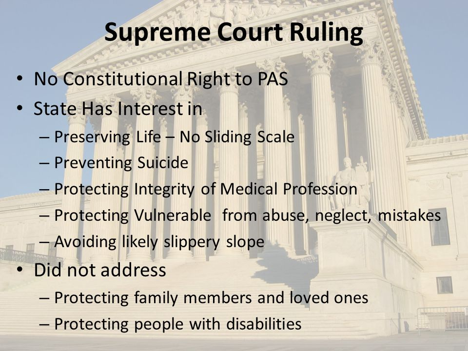 Supreme Court Ruling No Constitutional Right to PAS