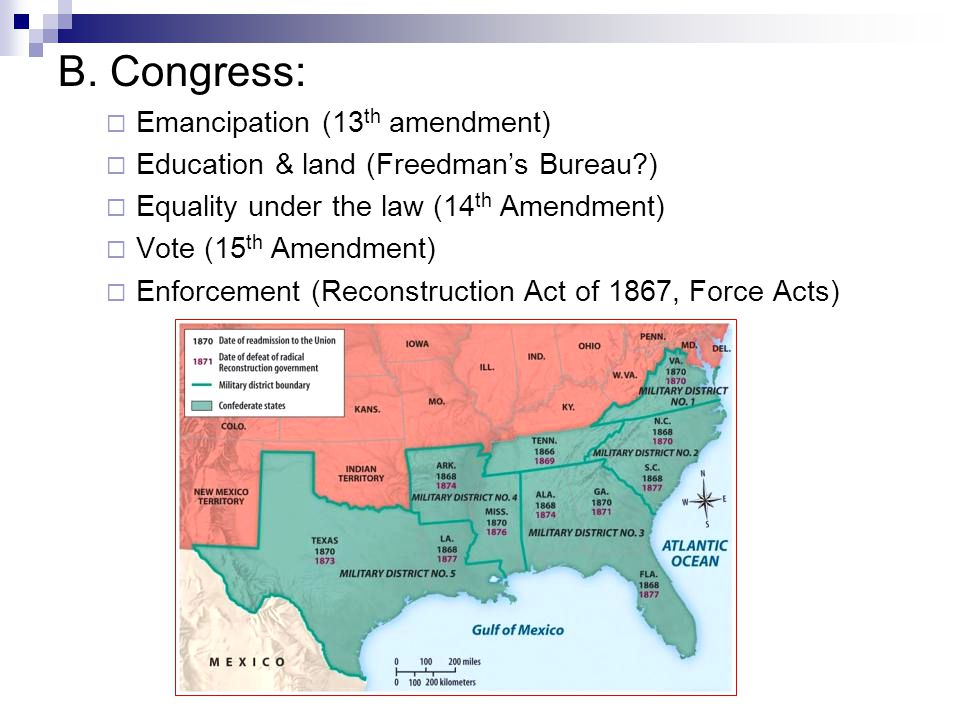 B. Congress: Emancipation (13th amendment)