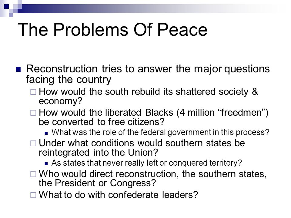 The Problems Of Peace Reconstruction tries to answer the major questions facing the country.