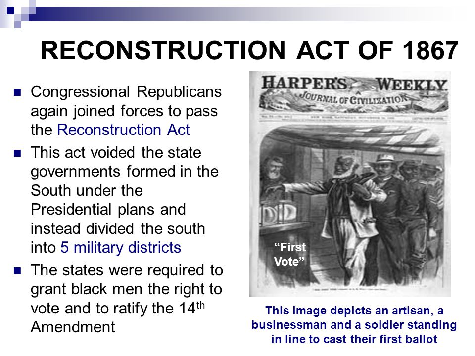 RECONSTRUCTION ACT OF 1867 Congressional Republicans again joined forces to pass the Reconstruction Act.