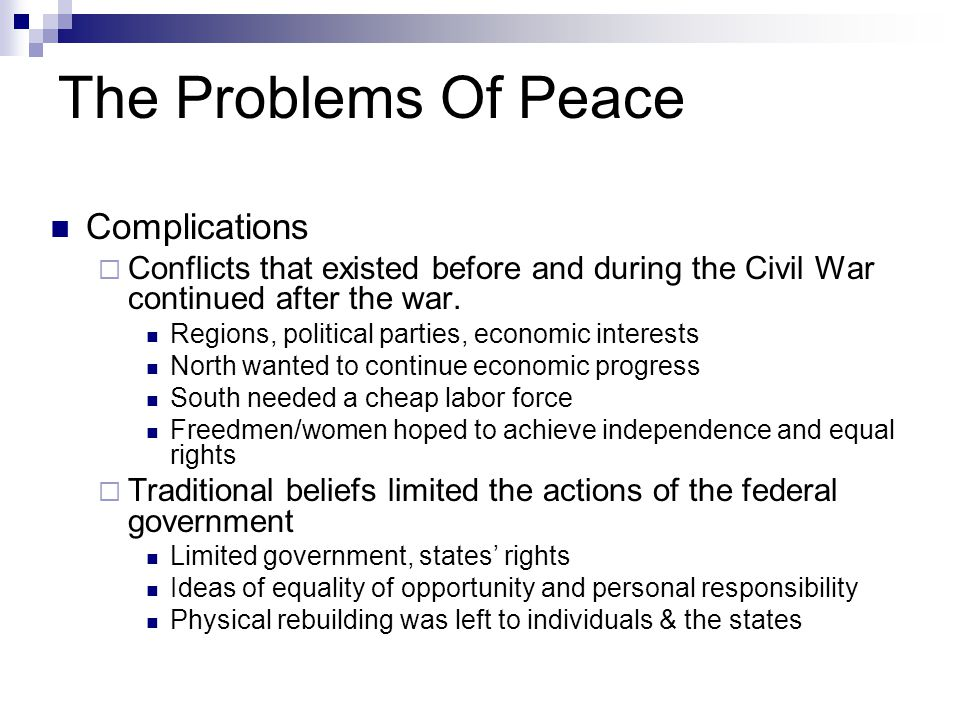 The Problems Of Peace Complications