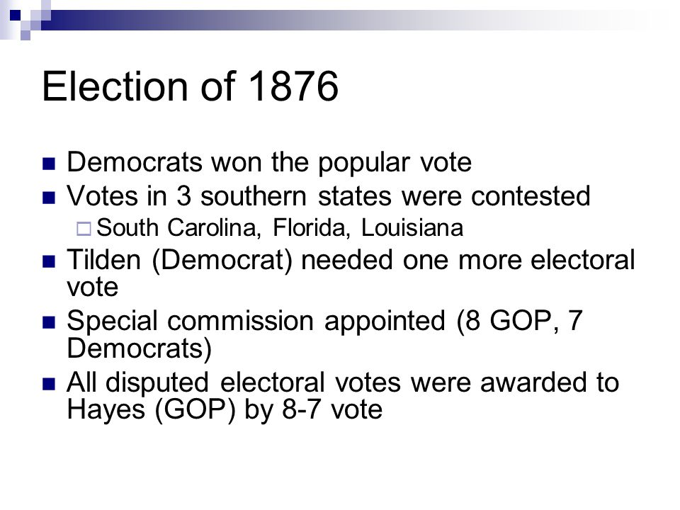 Election of 1876 Democrats won the popular vote