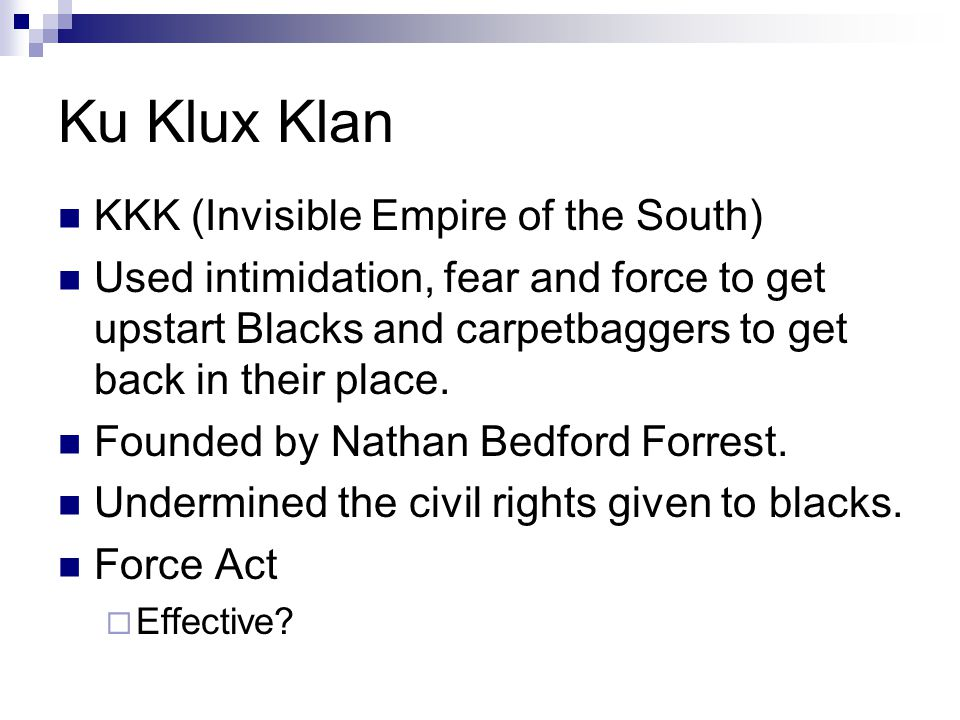 Ku Klux Klan KKK (Invisible Empire of the South)