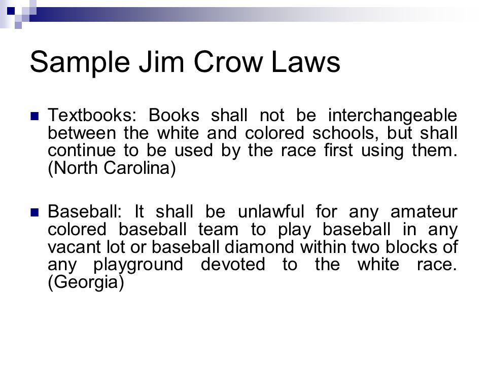 Sample Jim Crow Laws