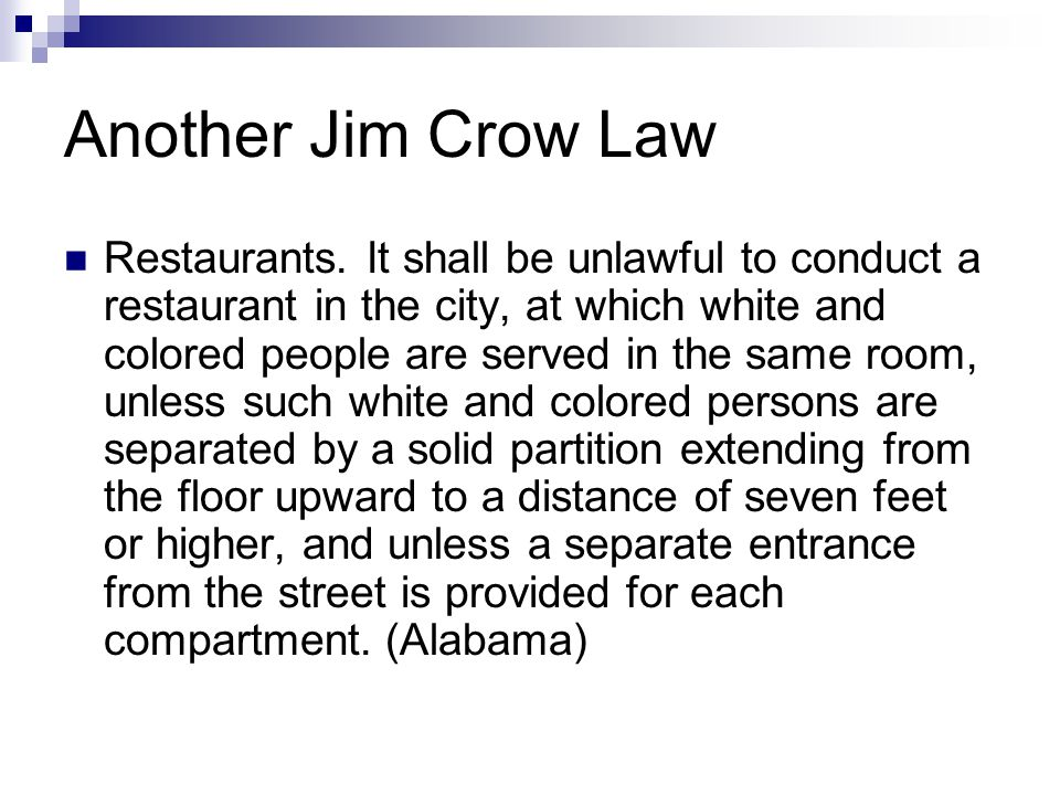 Another Jim Crow Law