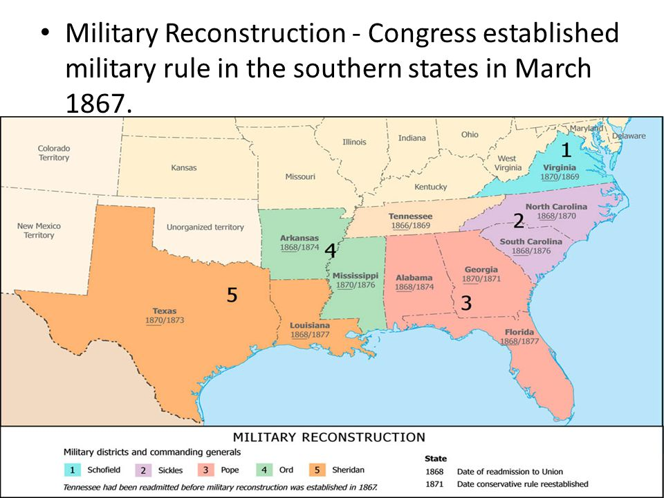 Military Reconstruction - Congress established military rule in the southern states in March 1867.