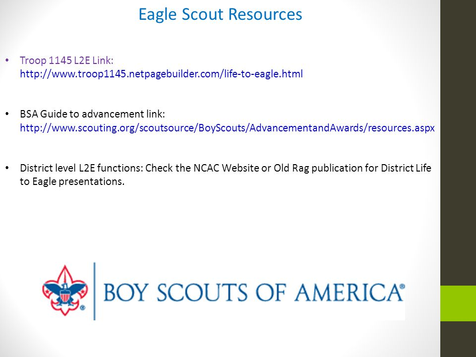 Eagle Scout Resources Troop 1145 L2E Link: