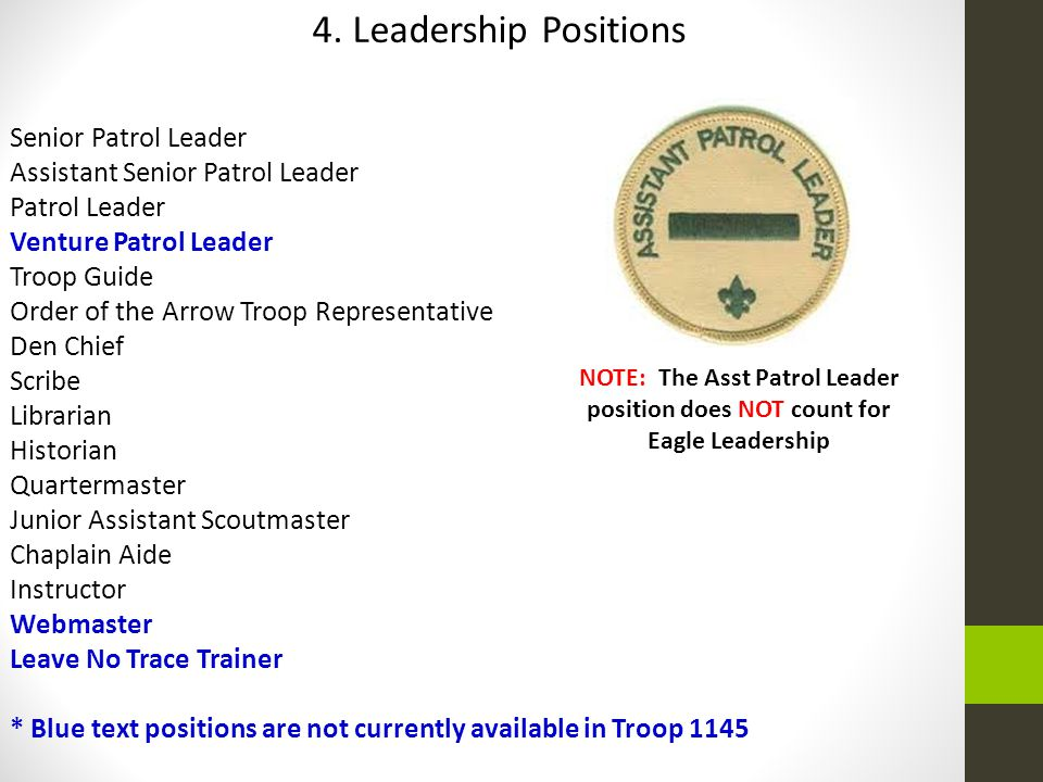 4. Leadership Positions Senior Patrol Leader