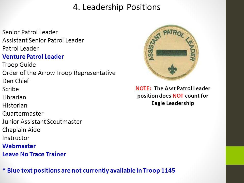 4. Leadership Positions Senior Patrol Leader